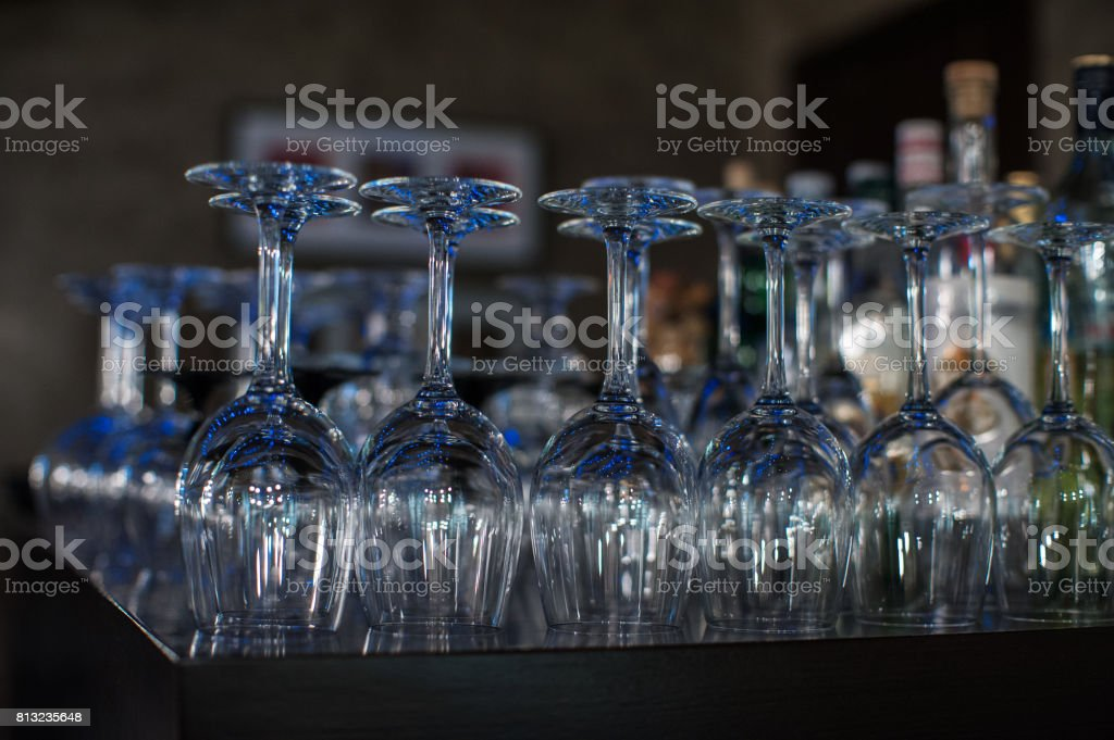 Wine glasses at the bar stock photo
