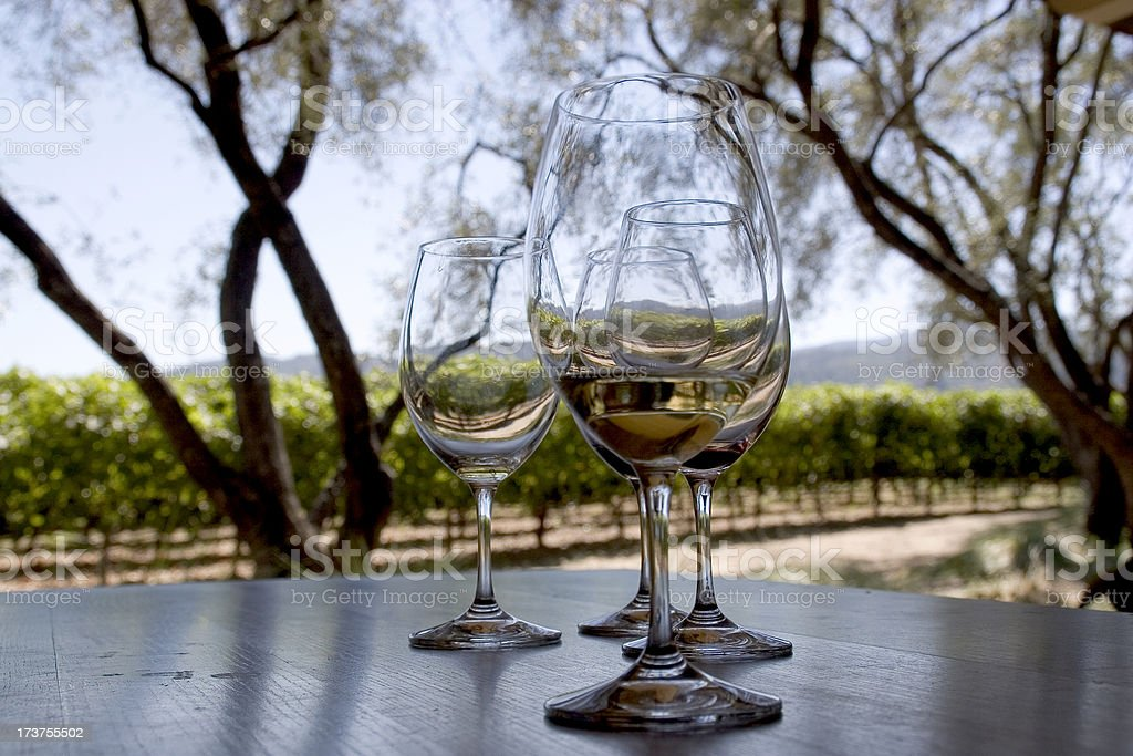 Wine glasses in Napa Valley royalty-free stock photo