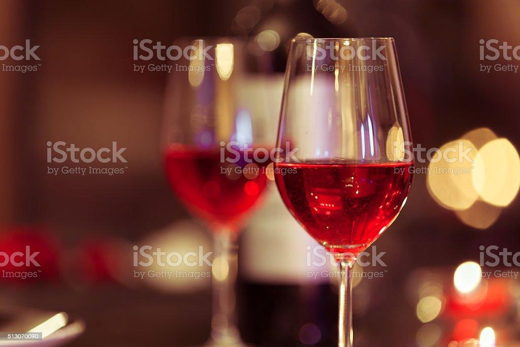 Wine glasses in the restaurant stock photo