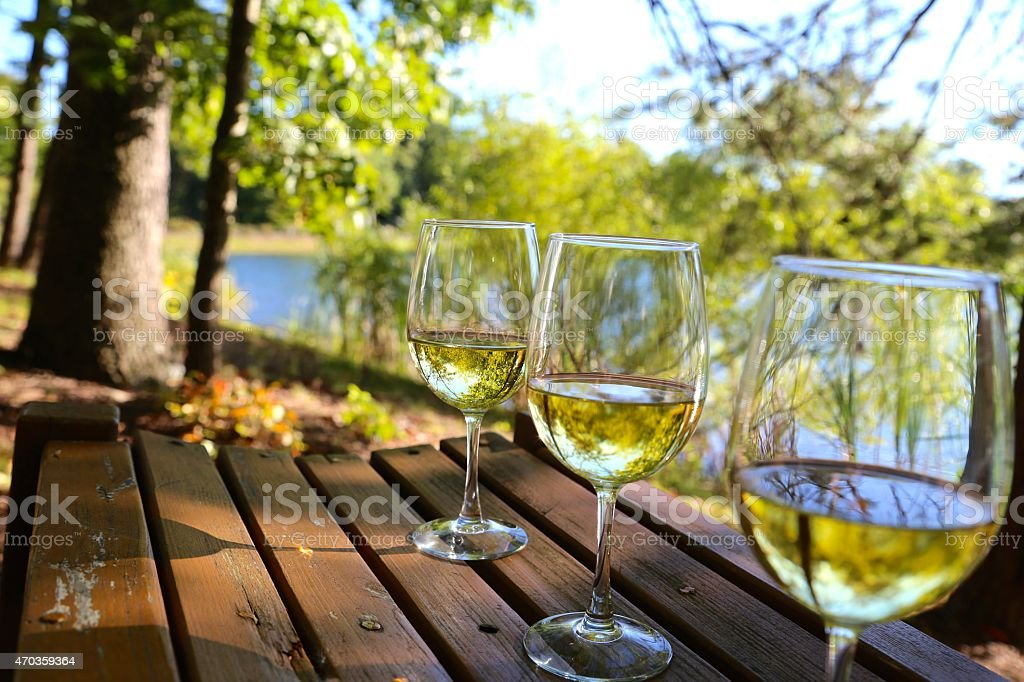 Wine Glasses on a Bench stock photo