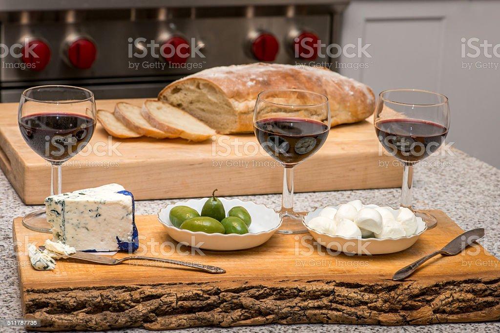 Wine glasses on kitchen island stock photo