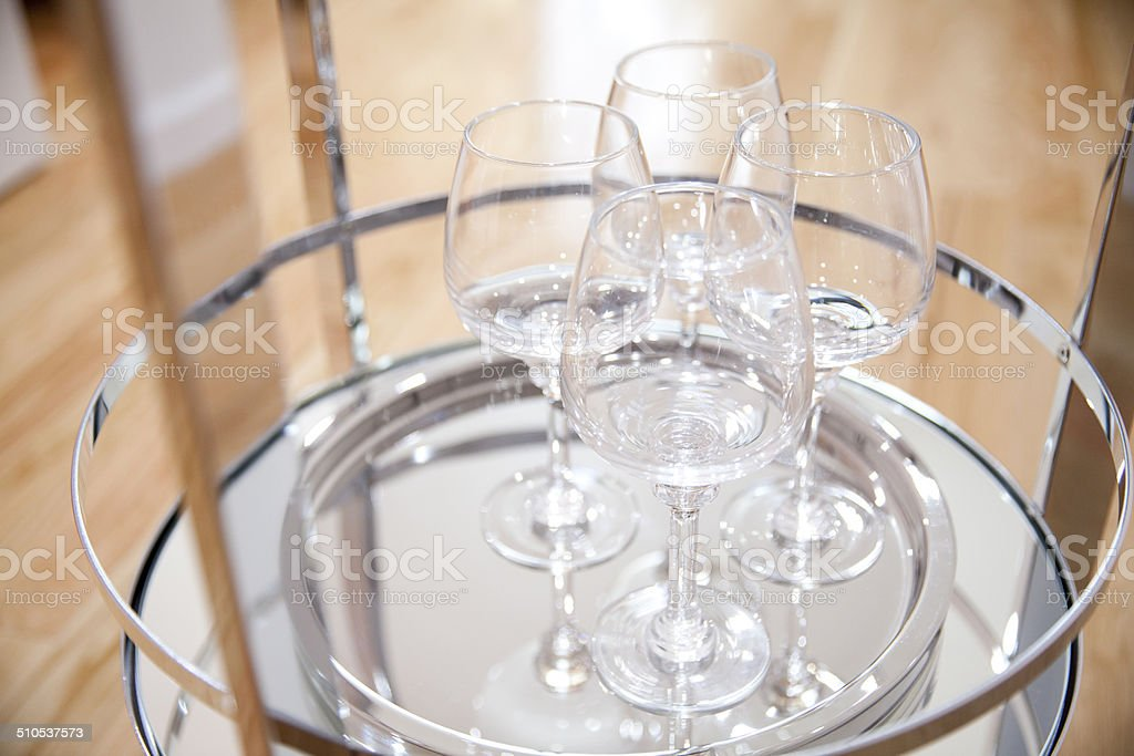 wine glasses on the bar tray stock photo