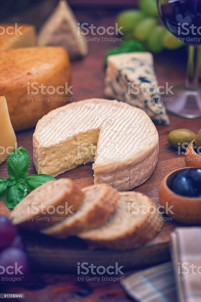 Wine, Grape and Cheese stock photo