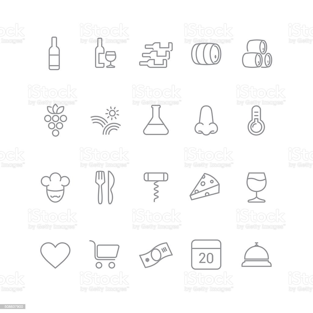 wine icons stock photo