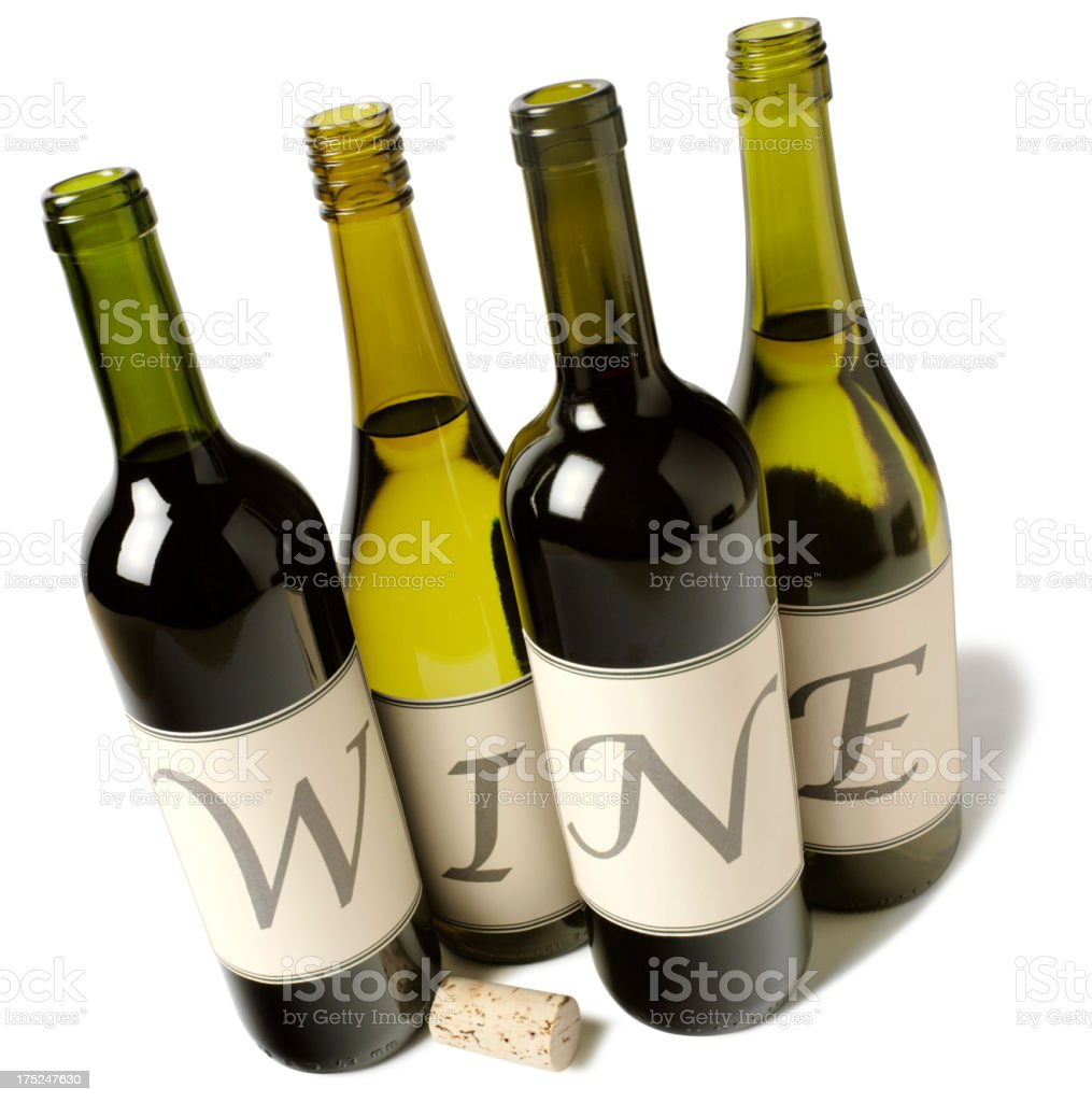 Wine in a Word on Bottles stock photo