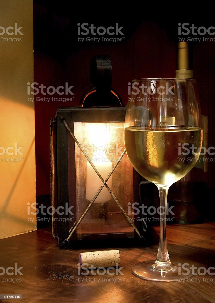 Wine in Candle Light royalty-free stock photo