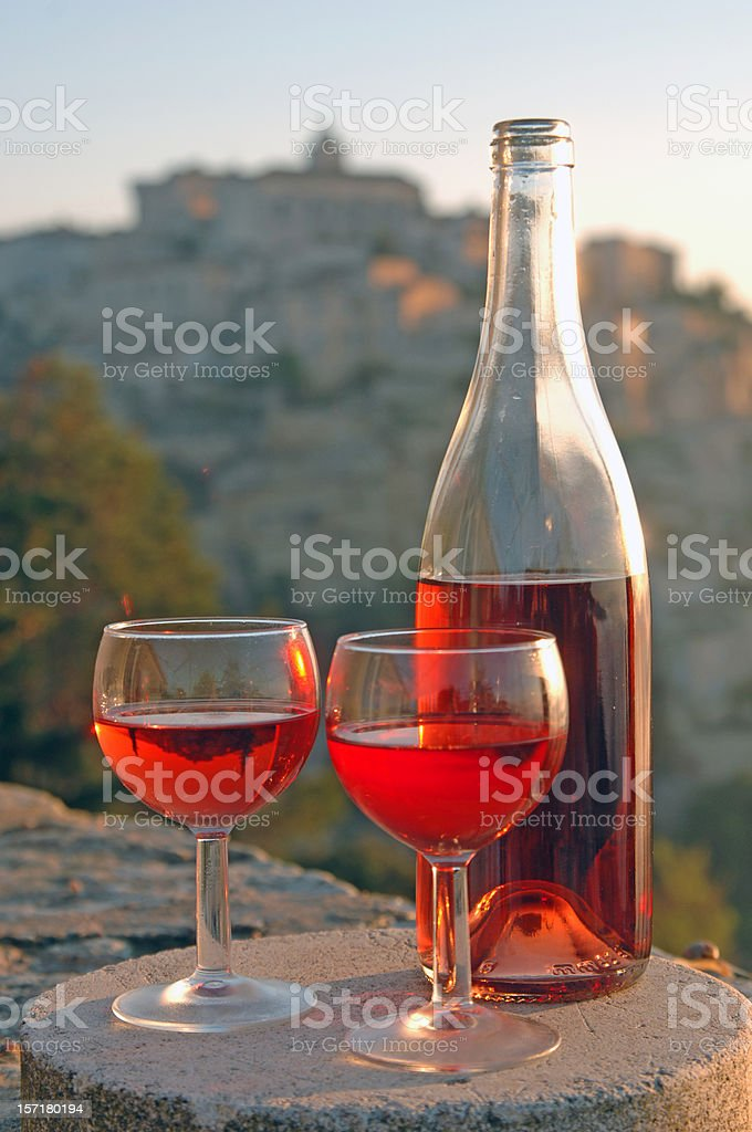 wine in front of Gordes royalty-free stock photo