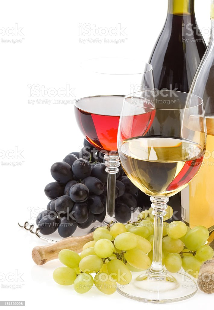 wine in glass and grape fruit isolated on white royalty-free stock photo