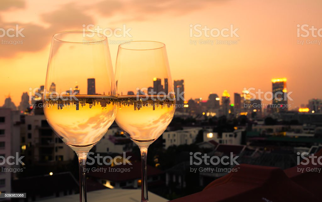 Wine in the city stock photo