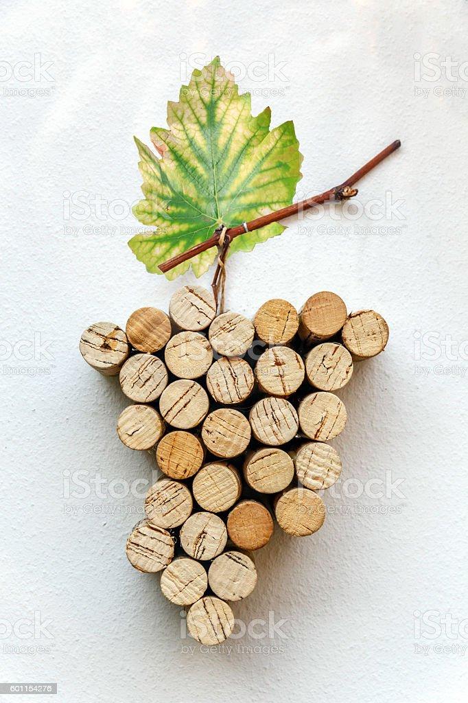 wine leaf and corks stock photo