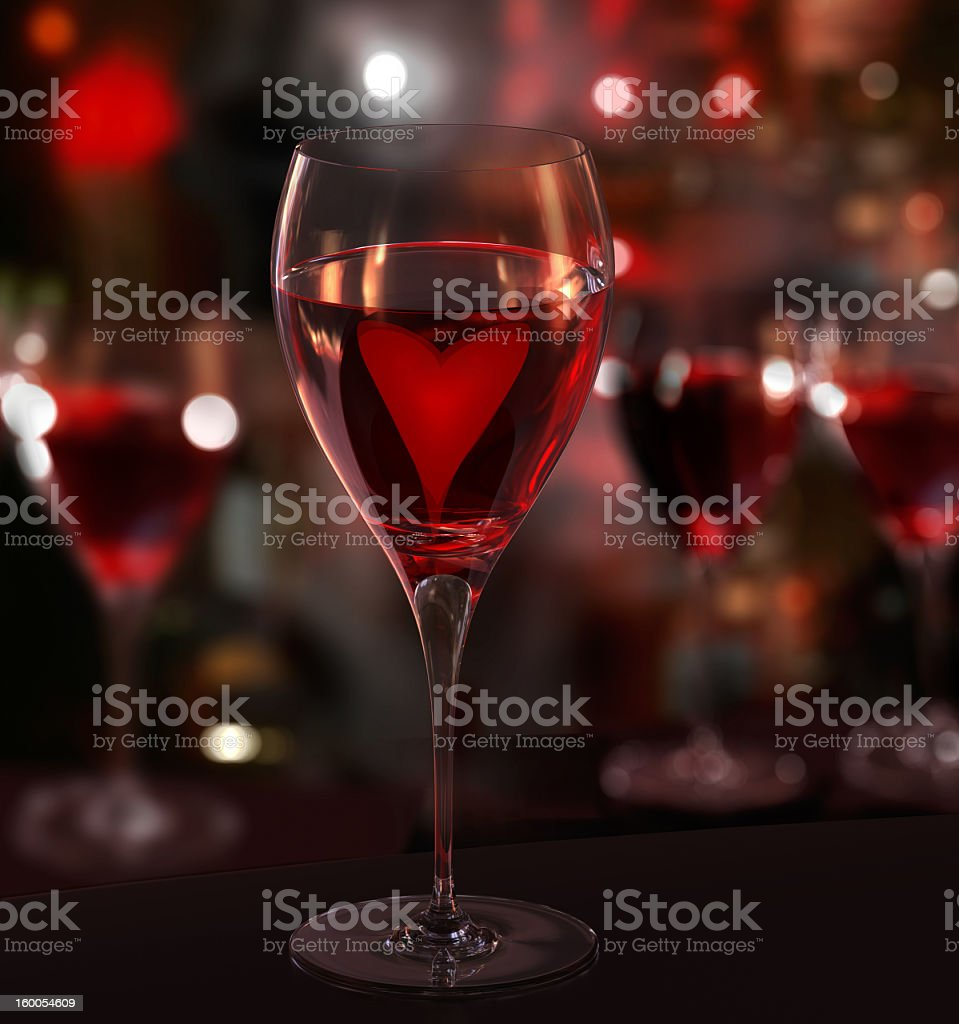 Wine lover. Glass of red wine, with heart. Blurred background royalty-free stock photo