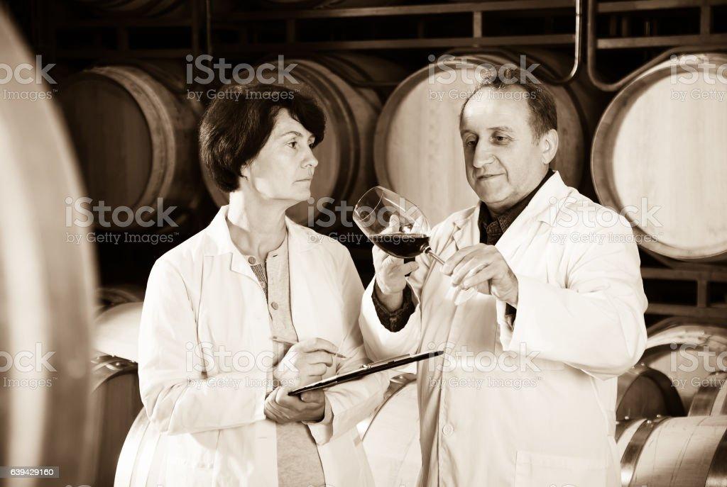 Wine maker with wineglass stock photo