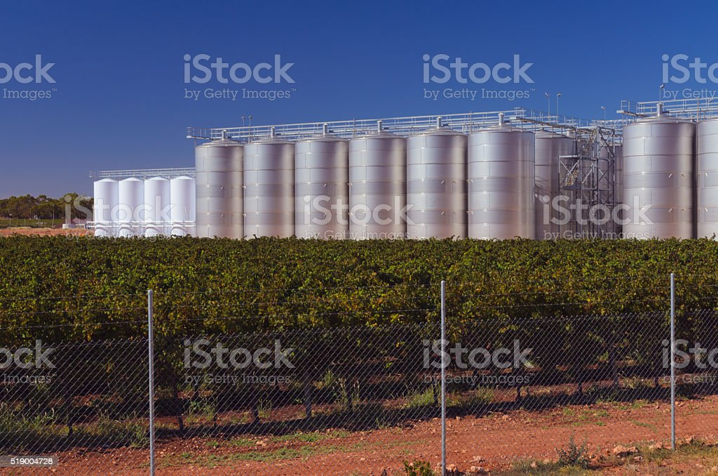 Wine making equipment industrial fermenting reservoir agricultur stock photo