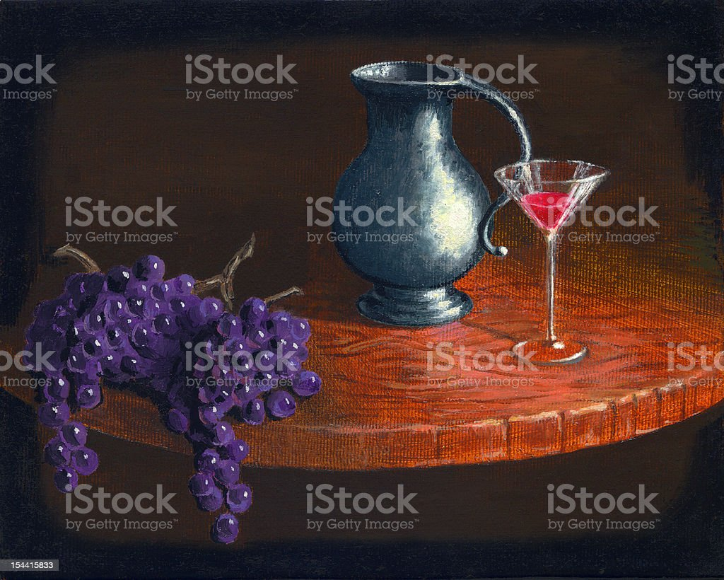 Wine miniature, oil painting royalty-free stock photo