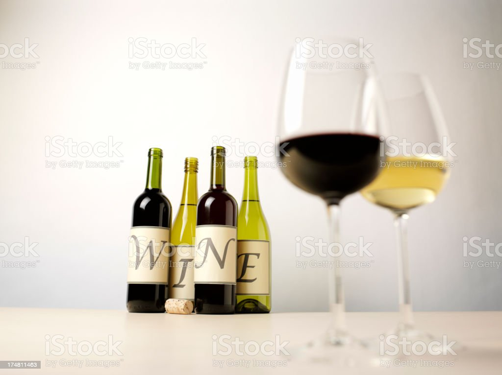 Wine on a label with Red and White in Glasses royalty-free stock photo