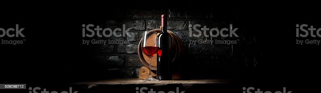 Wine on black bricks stock photo