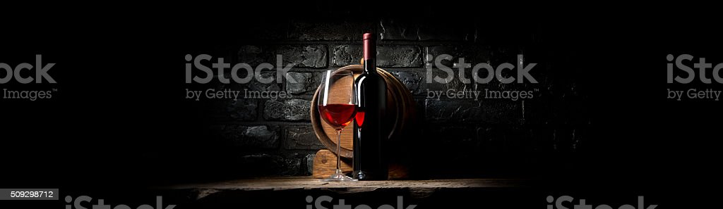 Wine on black bricks stock photo