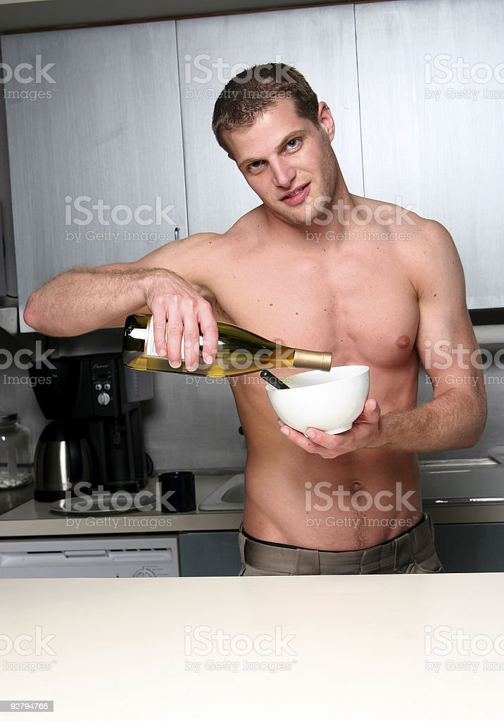 Wine on my cereal. stock photo