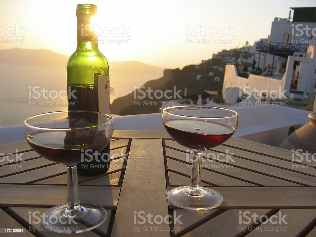 Wine on Table, Greek Isle royalty-free stock photo
