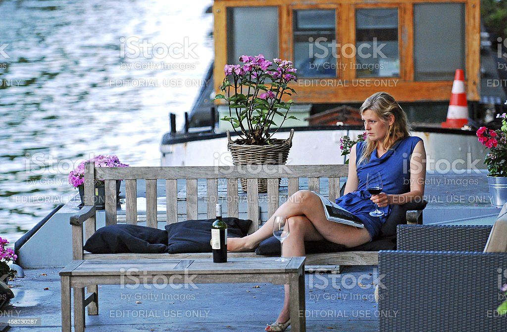 Wine on the river. royalty-free stock photo