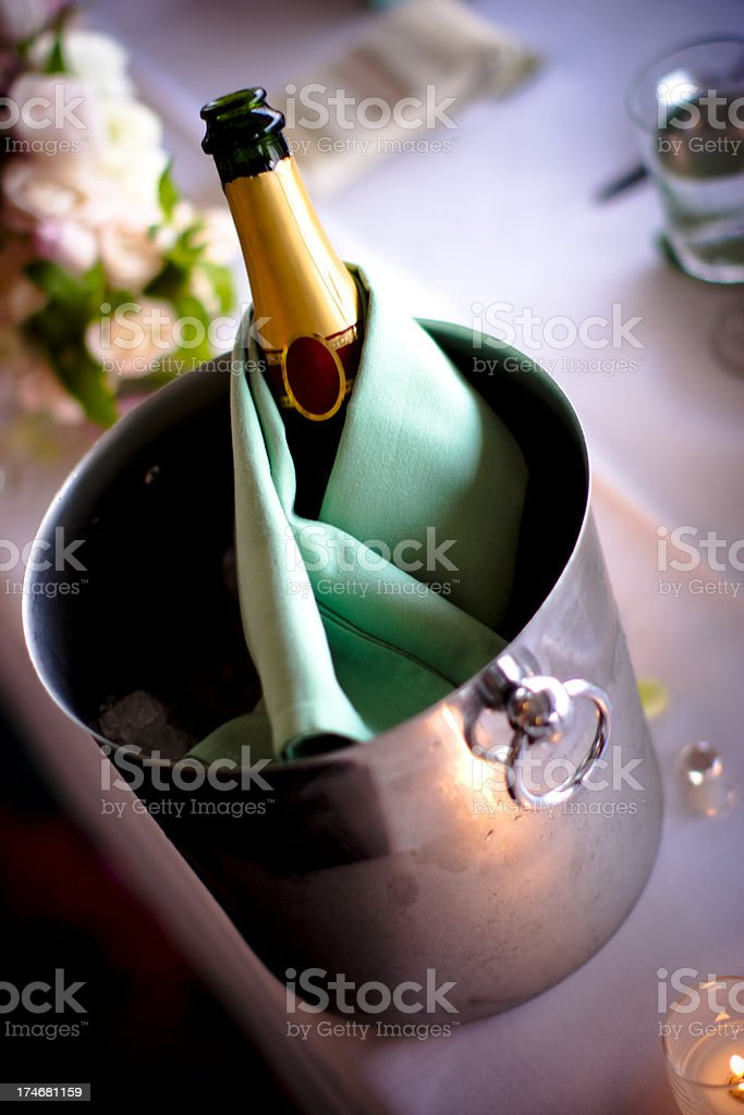 Wine or Champange in Ice Bucket royalty-free stock photo