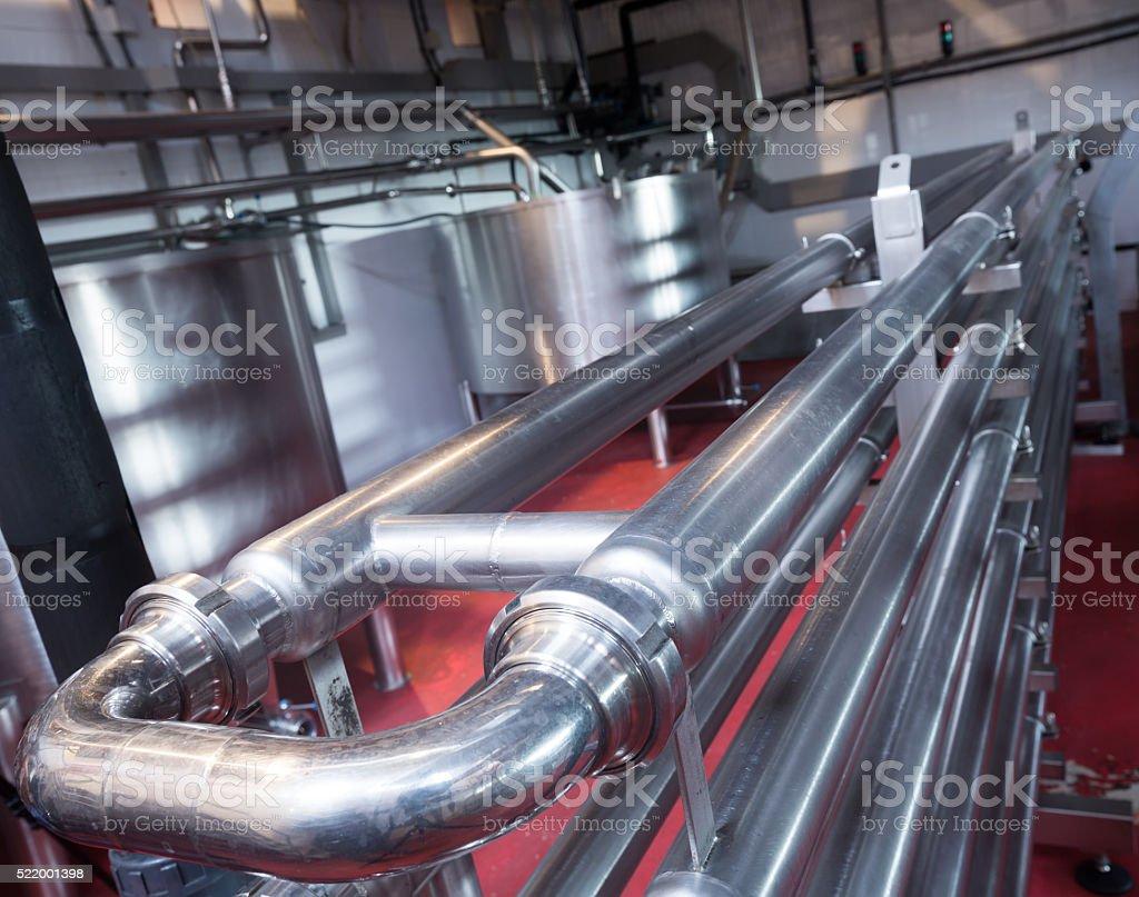 Wine plant shop interior with tanks stock photo