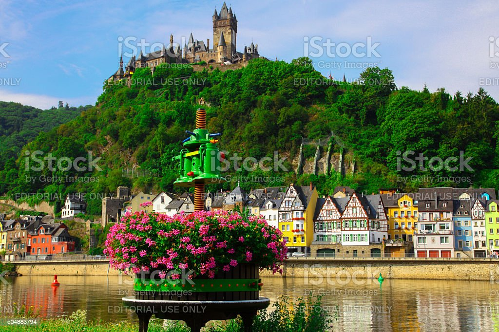 Wine press in Cochem on the Moselle stock photo