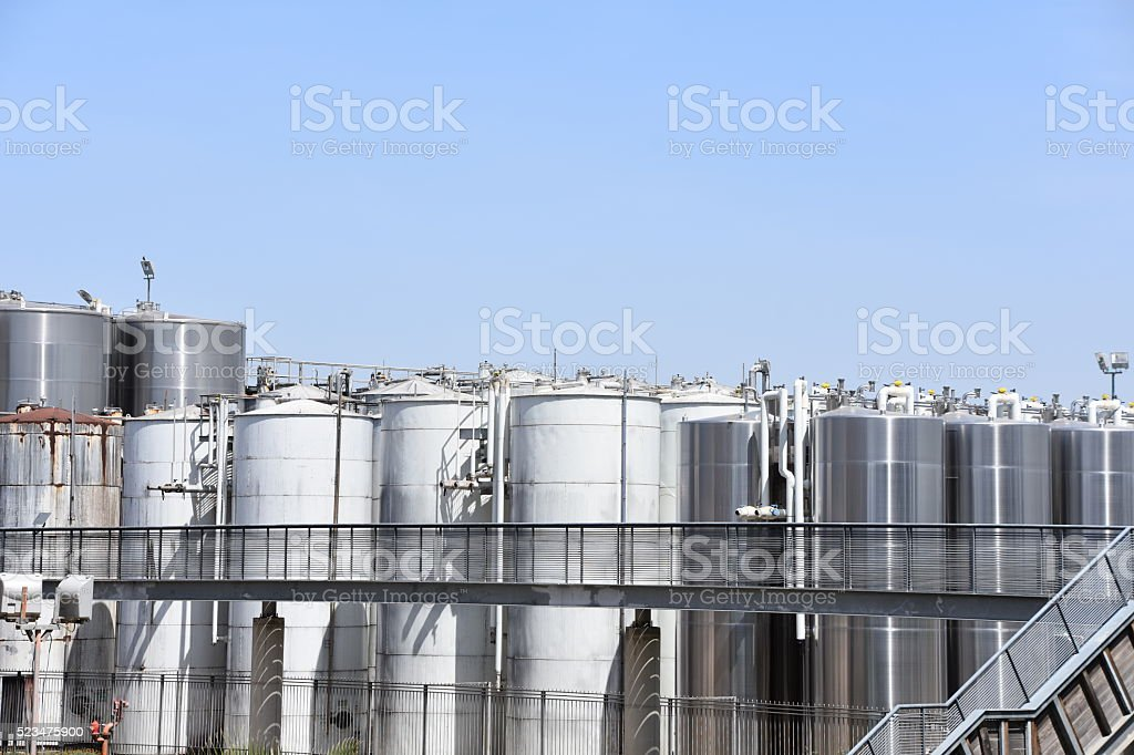 Wine production plant stock photo