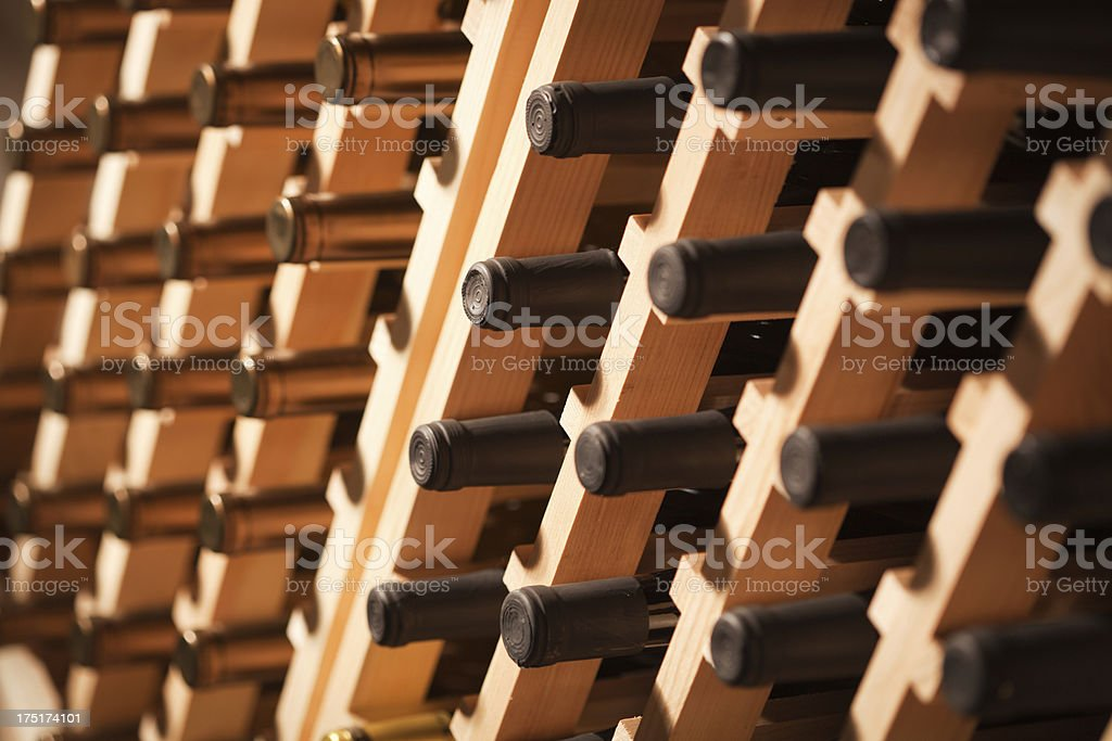 Wine Rack Display Filled with Bottles Hz royalty-free stock photo