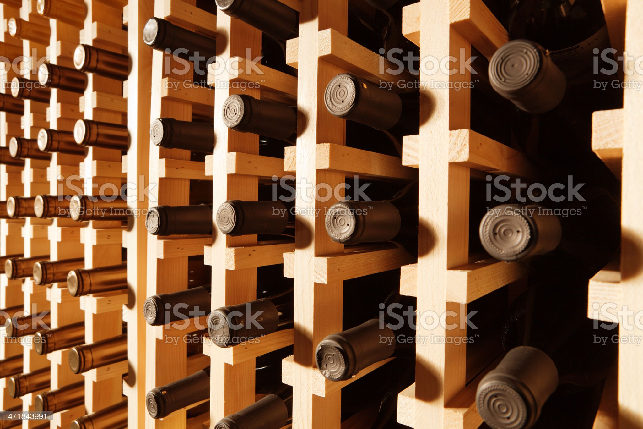 Wine Rack Filled with Bottles Horizontal royalty-free stock photo