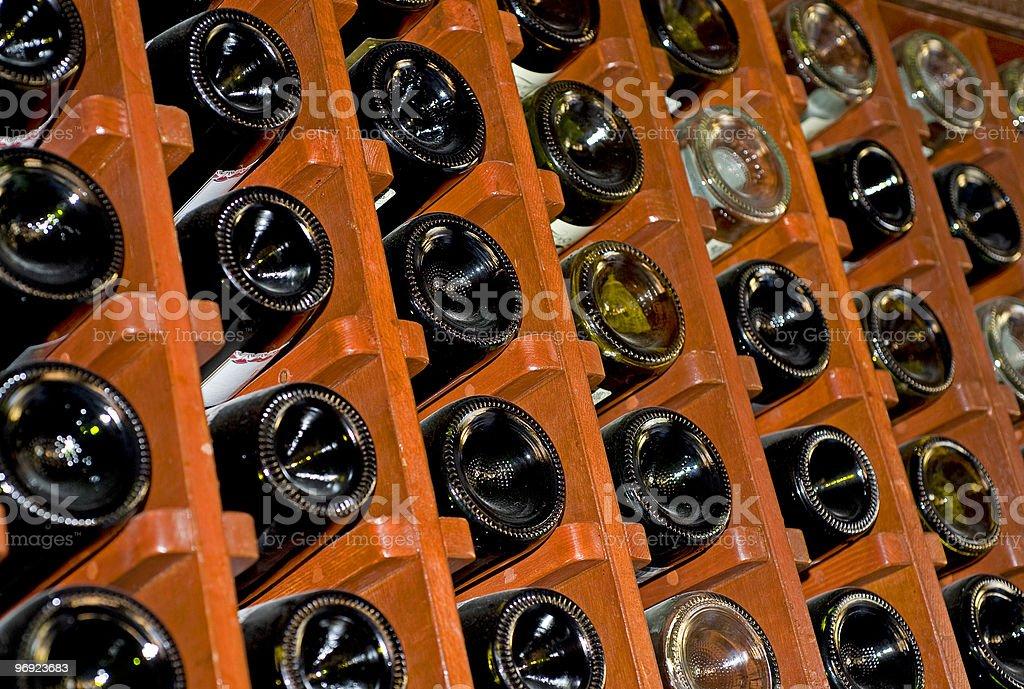 Wine rack full of bottles royalty-free stock photo