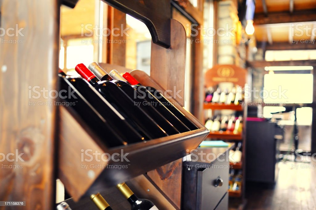 Wine rack in a restaurant royalty-free stock photo