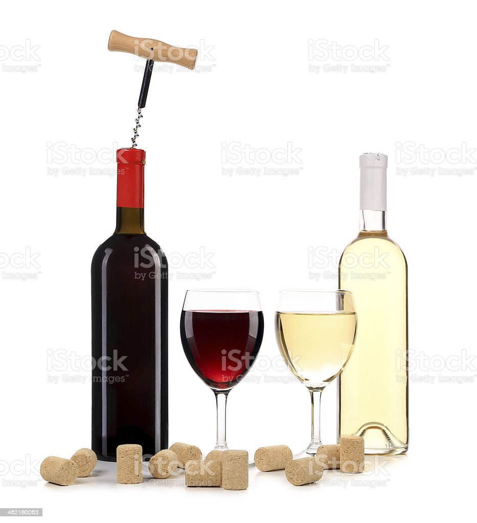 Wine red and white composition. stock photo