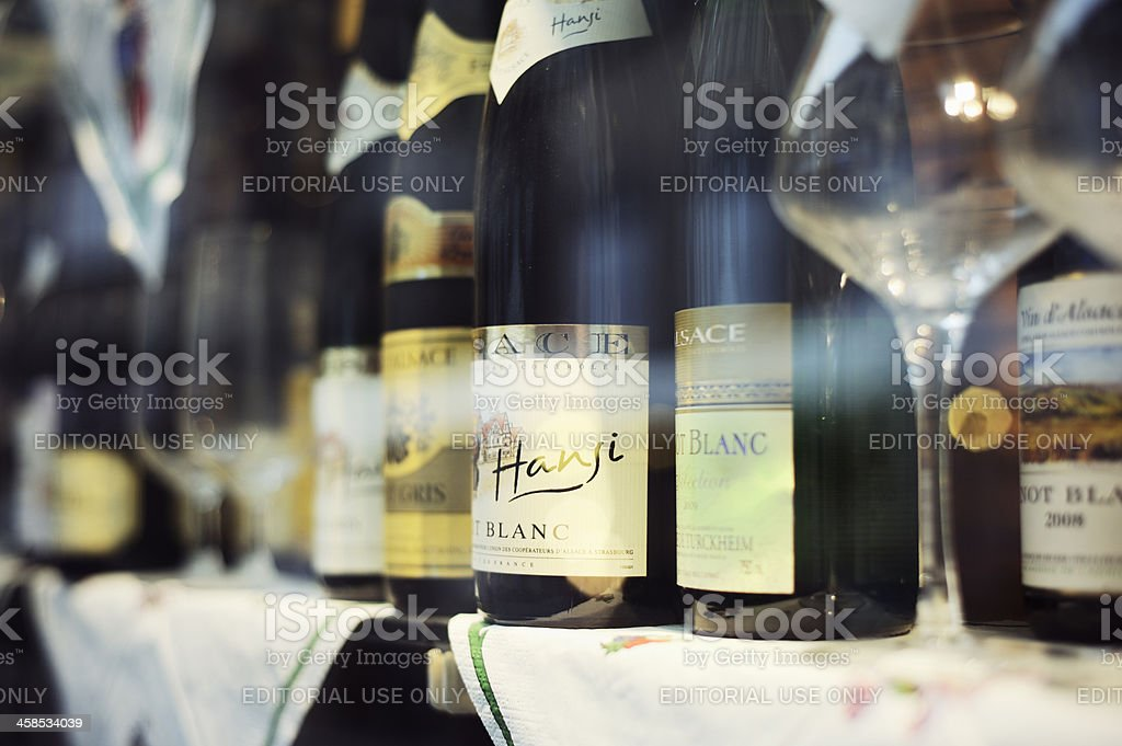 Wine Shop Window Display in Alsace France stock photo