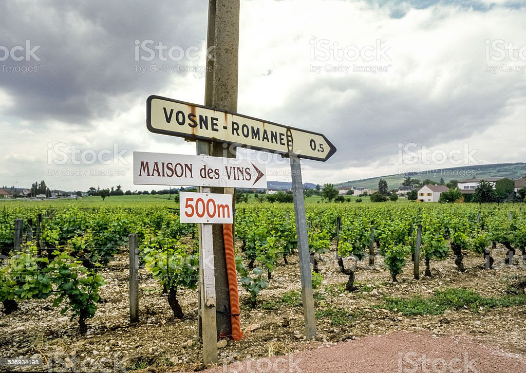 Wine signs Vosne-Romanee,France stock photo