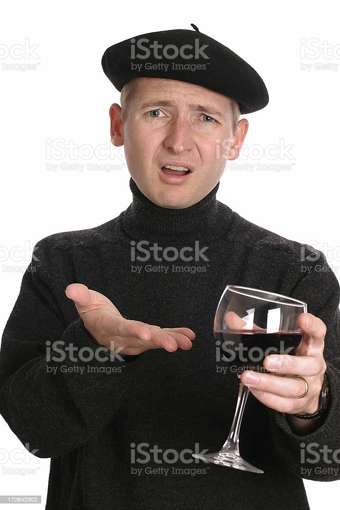 Wine snob wearing beret and gesturing with wine glass royalty-free stock photo