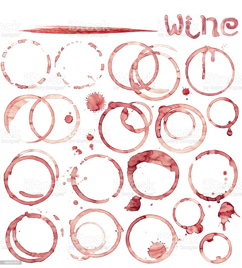 Wine stain circles in red tones with realistic gradient shading stock photo