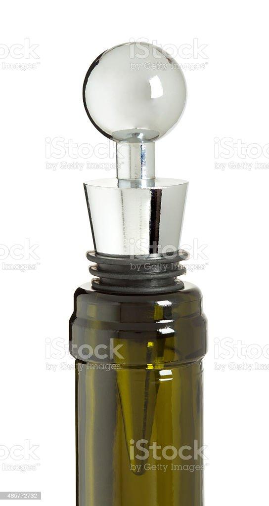 Wine stopper in bottle stock photo