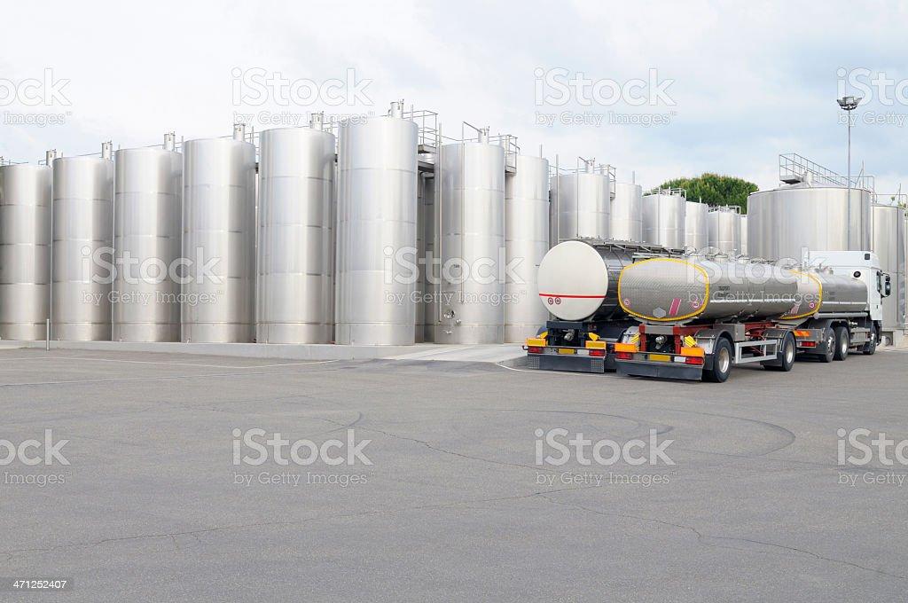 Wine Storage Tanks and Trucks stock photo