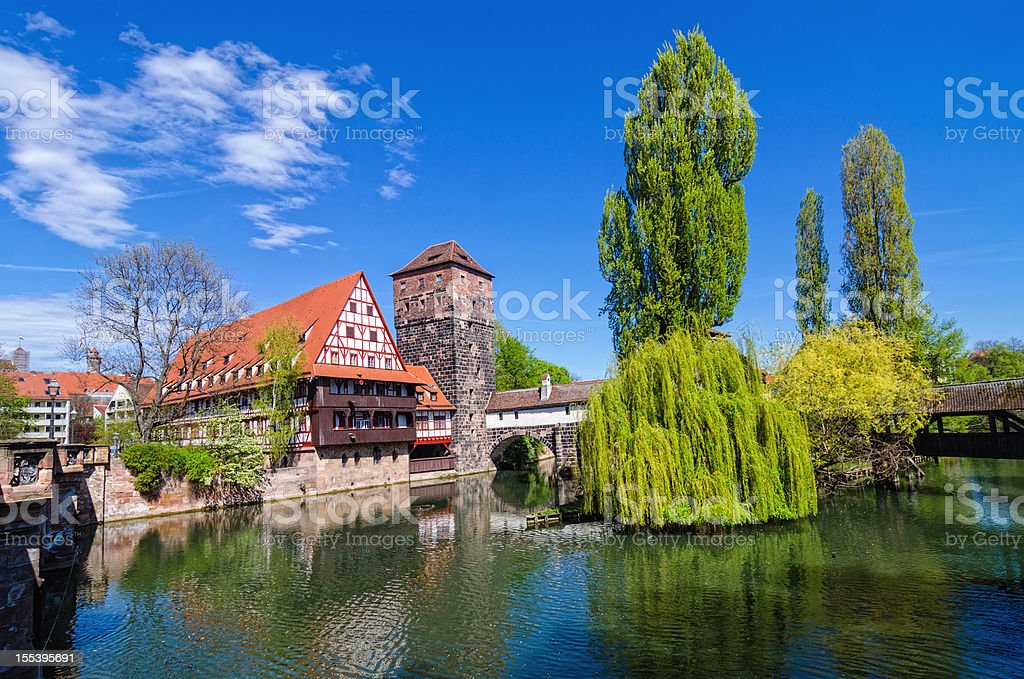 Wine Store and Hangman's Bridge Nuremberg (Weinstadl und Henkersteg Nürnberg) stock photo