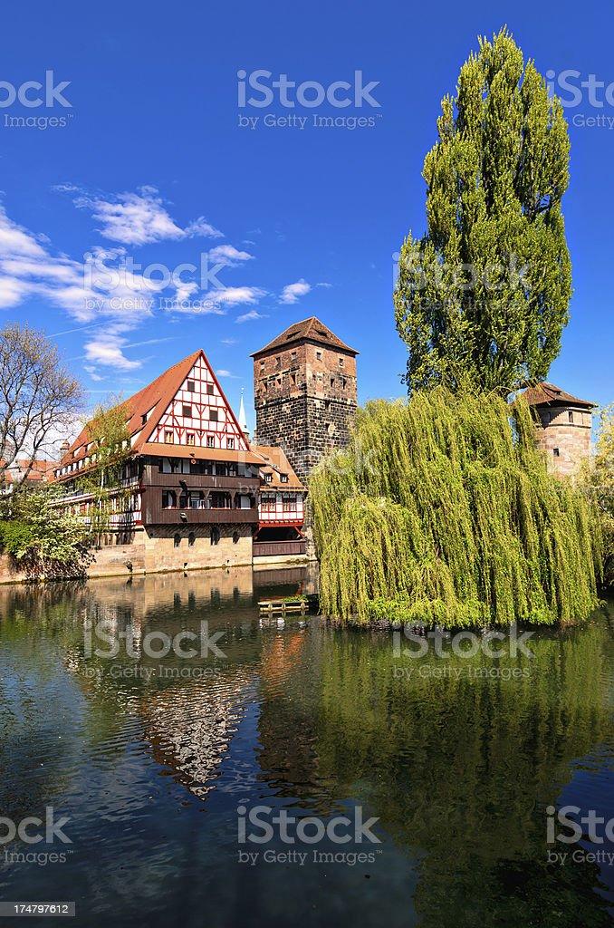 Wine Store and Hangman's Bridge Nuremberg (Weinstadl und Henkersteg Nürnberg) stock photo