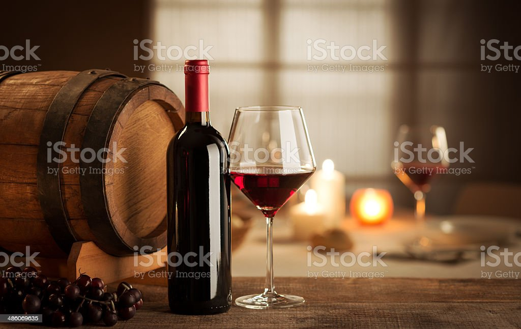 Wine tasting at restaurant stock photo