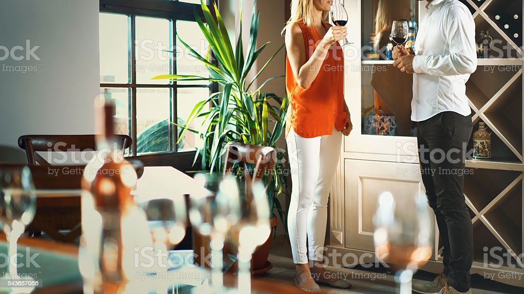 Wine tasting discussion. stock photo