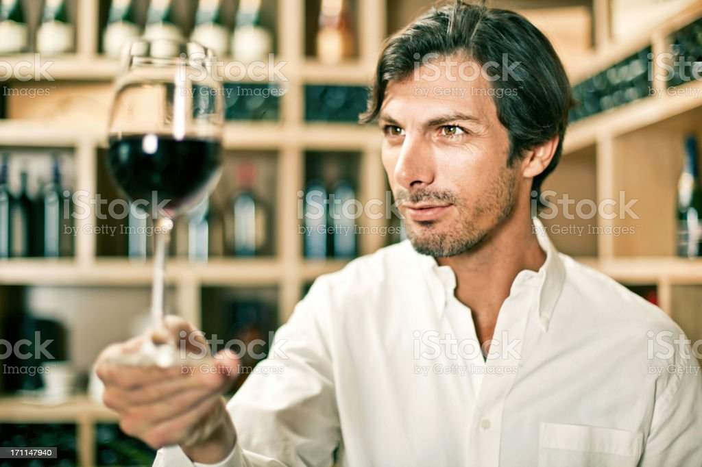 Wine tasting in a cellar stock photo