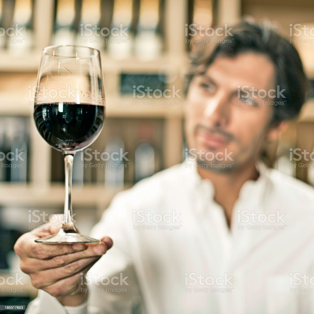 Wine tasting in a cellar royalty-free stock photo