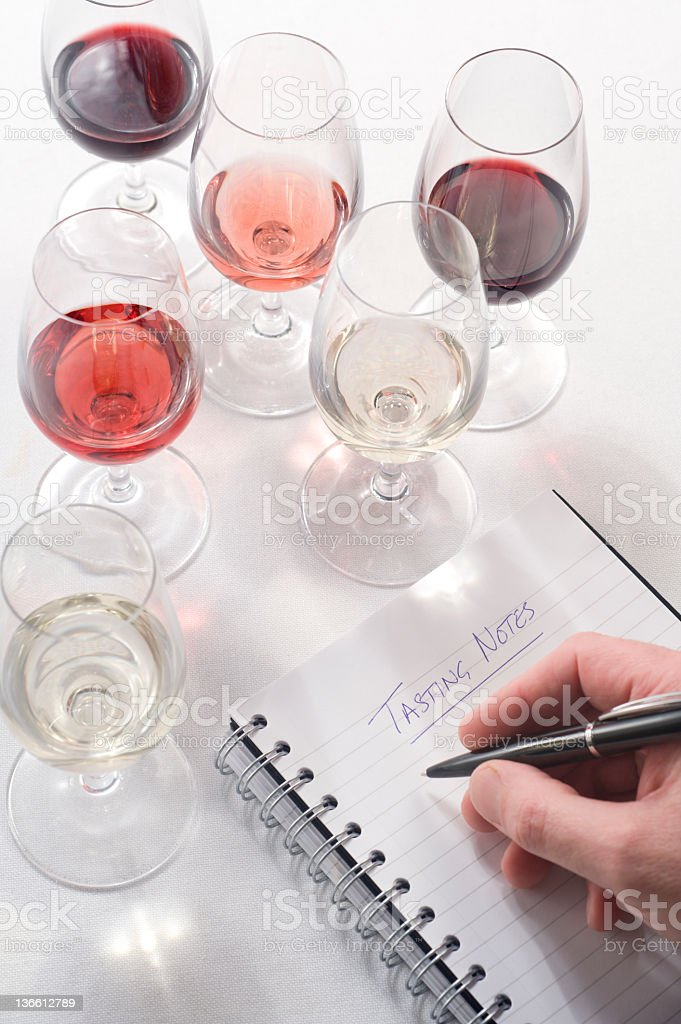 Wine Tasting Notes royalty-free stock photo