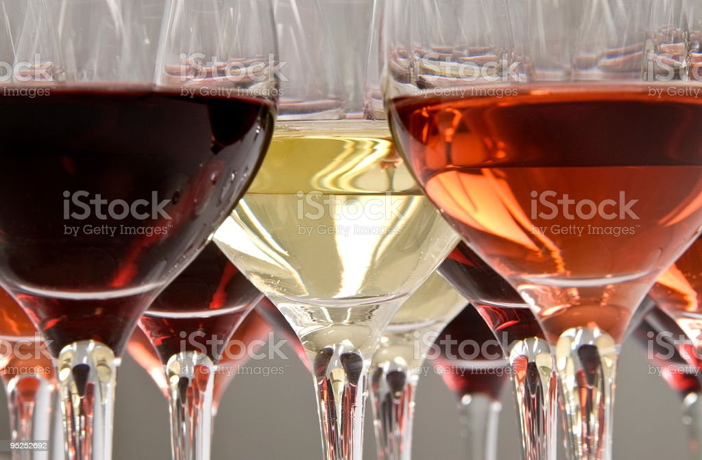 Wine tasting with multiple glasses stock photo