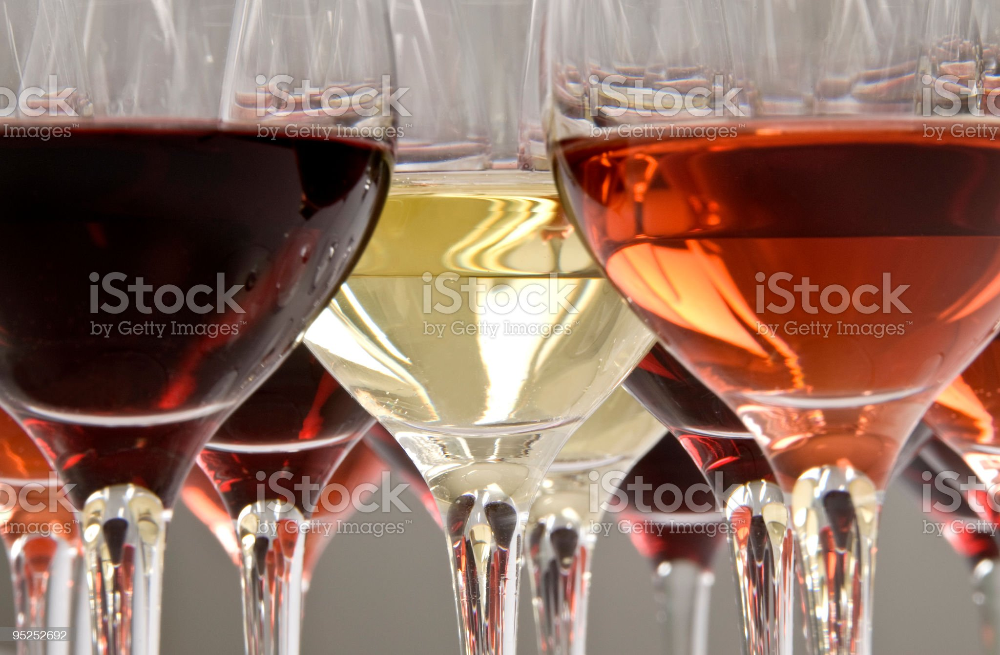 Wine tasting with multiple glasses royalty-free stock photo