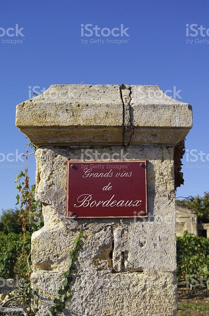 Wine theme. Grands vins de Bordeaux stock photo