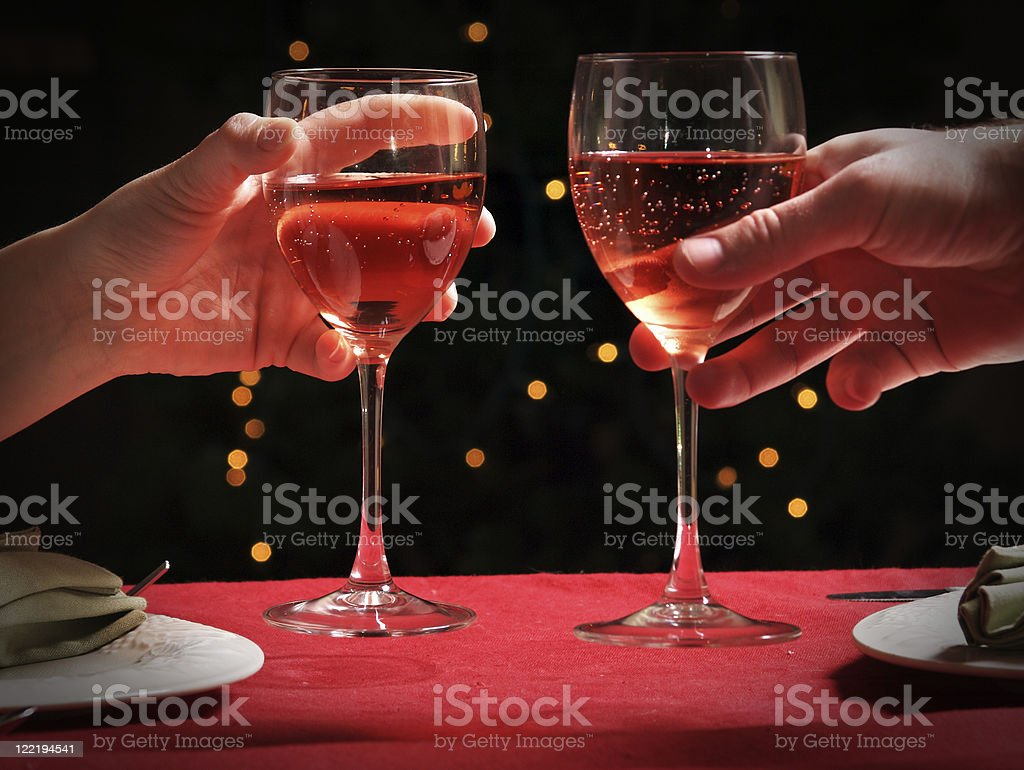 Wine Toast Glasses royalty-free stock photo